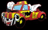 Bild på Assistancekårens maskot en glad bärgningsbil.