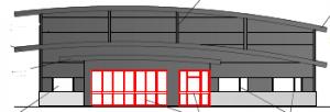 Fasaden på nya räddningsstatinen till Assistancekåren i Falun och Borlänge.