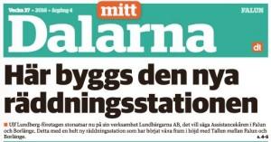 Skärmdump på Mitt Dalarnas framsida som skriver om den nya räddningsstationen som byggs.