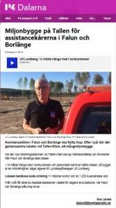 Skärmklipp från SR Dalarna med bild och text om Ulf Lundbergs satsning på ny räddningsstation mellan Falun och Borlänge.