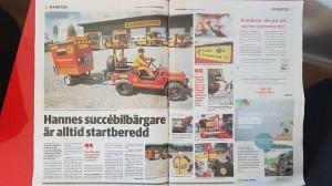 Uppslag i tidningen Dala Demokraateom Hannes som är en ung bilbärgare.